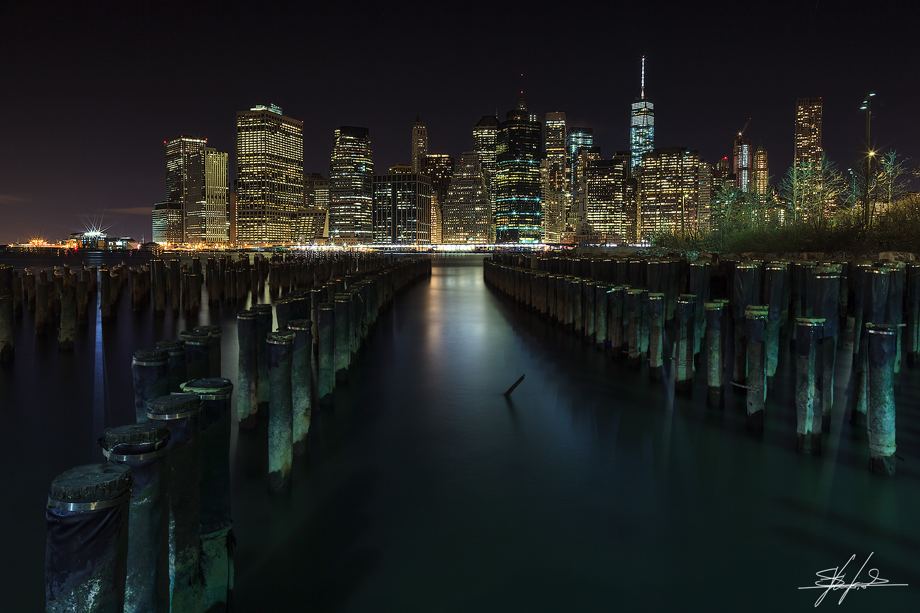 Lower manhattan by night