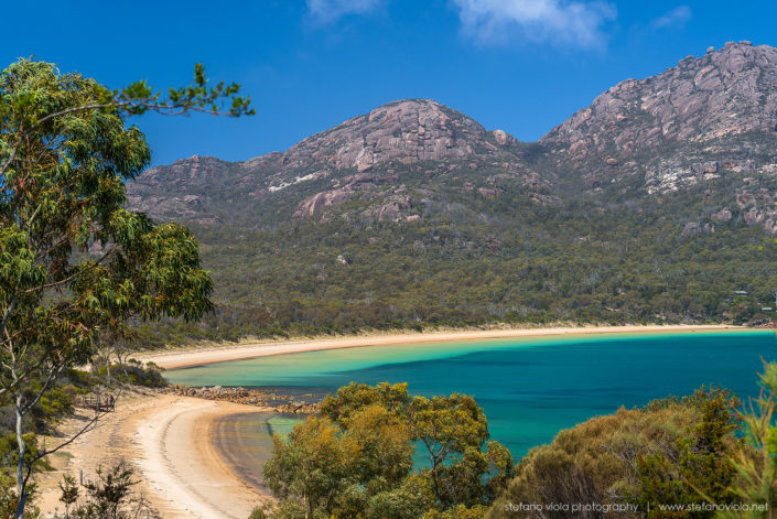 The amazing beach of the Great Oyster Bay in Tasmania